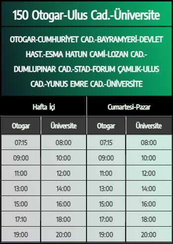 150 - Otogar-Ulus Cad.-Üniversite 1