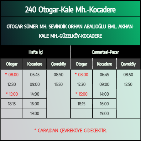 240 - Otogar-Kale Mh.-Kocadere 1