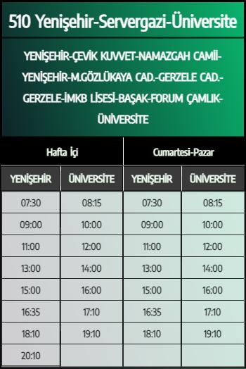 510 - Yenişehir-Servergazi-Üniversite 1